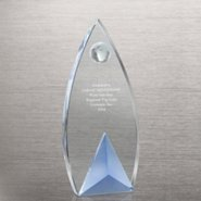 Sky Blue Accent Crystal Trophy - Globe